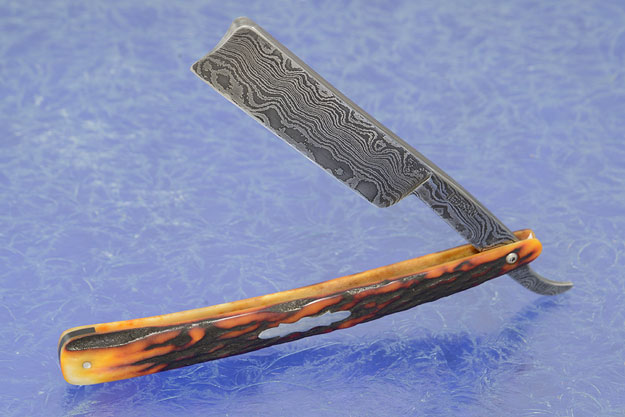 Damascus Straight Razor with Stag (6/8