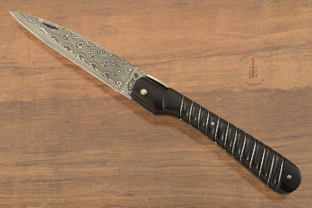 Vendetta Corsican Knife with Damascus and Fluted Buffalo Horn