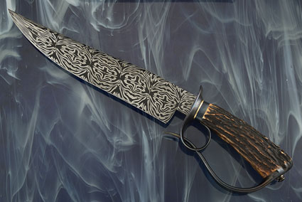 Damascus Pierced Ring Bowie with Stag