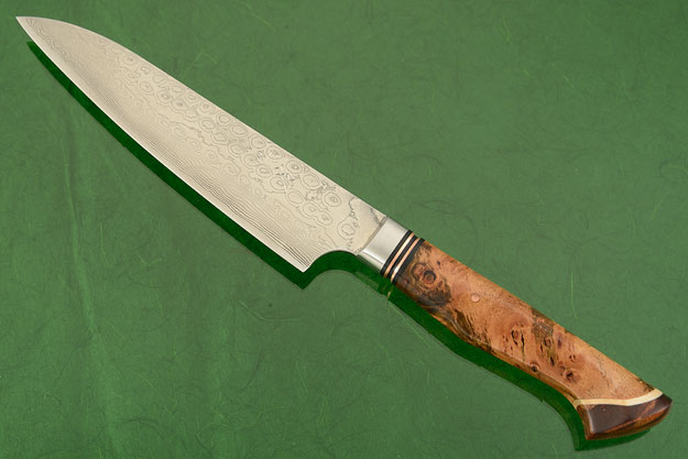 Utility Knife - Fruit - (135mm / 5-1/3 in) with Stainless Damascus and Maple Burl