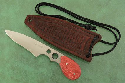 Neck Knife with Red Snakeskin Sycamore