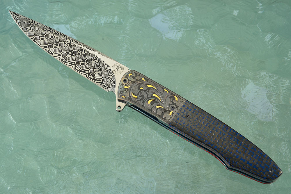 L19 Flipper with Damascus, Engraved Zirconium, and Blue Lightning Strike Carbon Fiber (Ceramic IKBS)