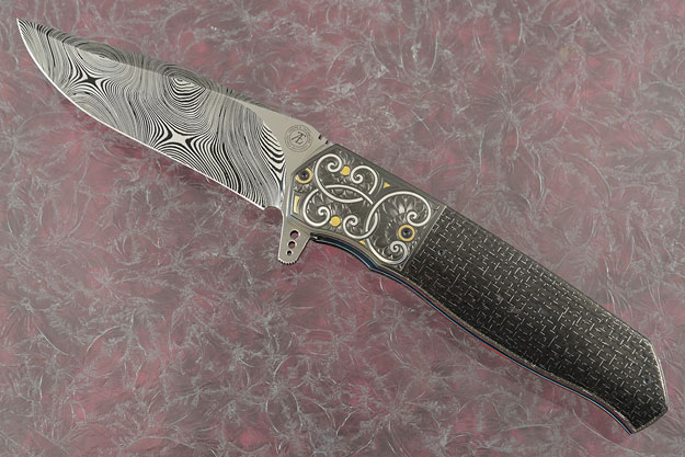 L36M Flipper with Silver Strike Carbon Fiber, Damascus, Engraved Zirconium, and Gold/Silver Inlay (Ceramic IKBS)