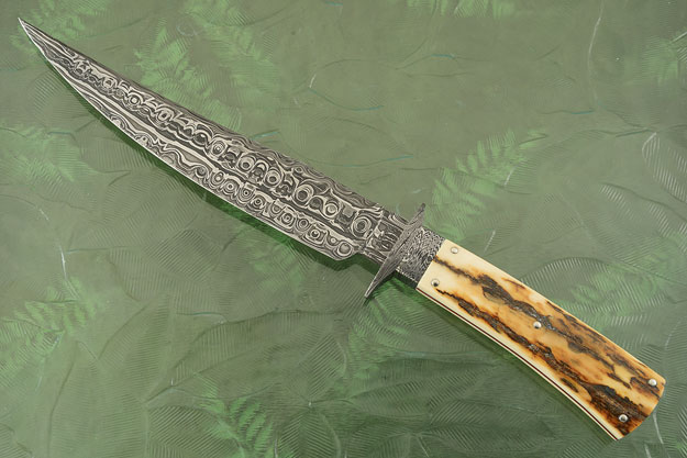 Damascus Bowie with Mammoth Ivory