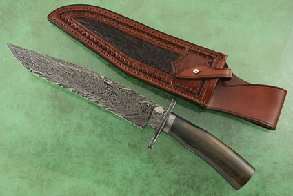 Harpoon Tip Damascus Bowie with Ancient Walrus Ivory