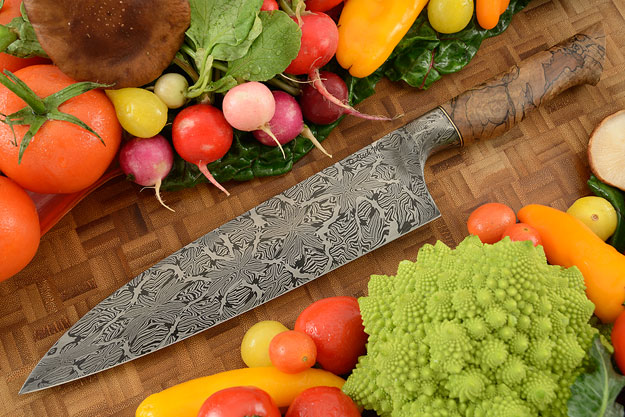 Chef's Knife (9 in.) with Spalted Maple and Mosaic Damascus