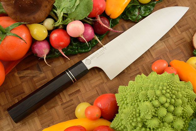 Chef's Knife (Santoku) -- 7-1/8 in. -- with African Blackwood -- 52100 Carbon Steel