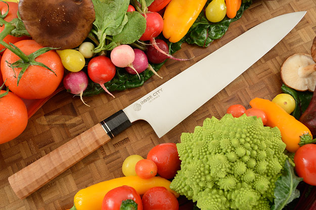 Chef's Knife (Gyuto) -- 10-1/4 in. -- with Curly Maple -- AEB-L Stainless Steel