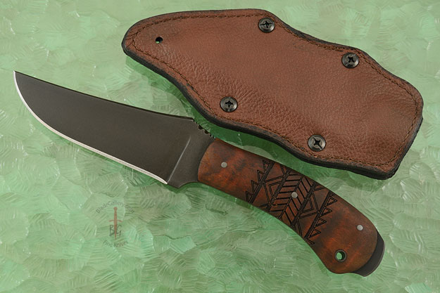 Crusher Belt Knife with Maple, Tribal Markings, and Caswell Finish