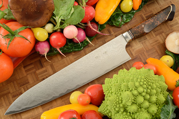 Chef's Knife - Gyuto - (240mm / 9-1/2 in) with Stainless Damascus and Maple Burl