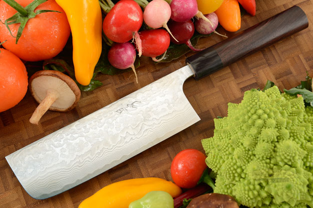 Asai PM Damascus Chef's Knife - Nakiri - 6 3/4 in. (170mm)