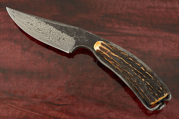 Damascus Blacksmith's Knife with Stag