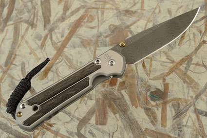 Small Sebenza 21 with Bog Oak and Laddered Damascus - Left Handed