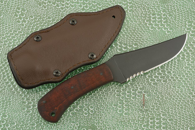 Belt Knife with Maple, Serrations and Caswell Finish