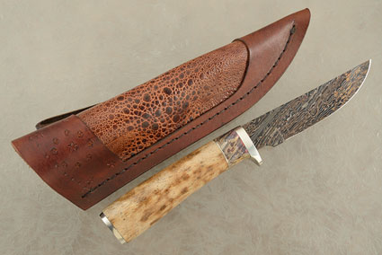 Damascus Hunter with Oosic and Box Elder Burl
