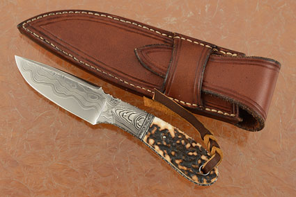 Utility Knife with Damascus and Stag