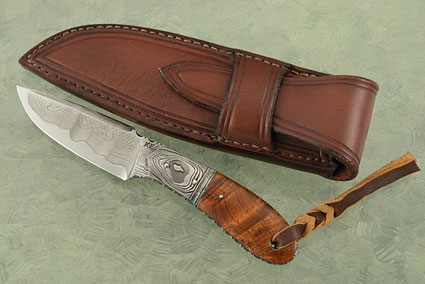 Utility Knife with Damascus and Ironwood