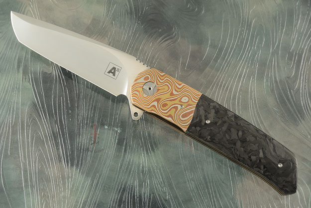 A7 Tanto Flipper with Mokume and Marbled Carbon Fiber (Ceramic IKBS)
