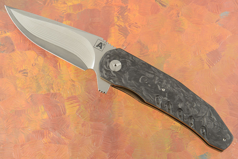 A3 Flipper with Damascus and Marbled Carbon Fiber (Ceramic IKBS)