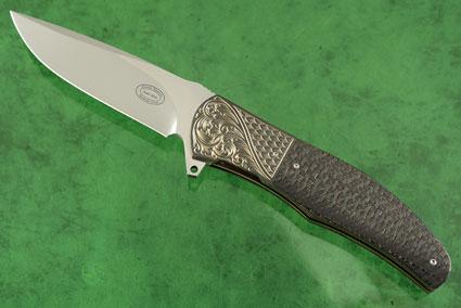LL13 Flipper with Lightning Strike Carbon Fiber and Engraved Zirconium (IKBS)