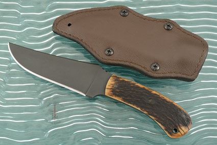 Belt Knife with Elk Antler and Caswell Finish