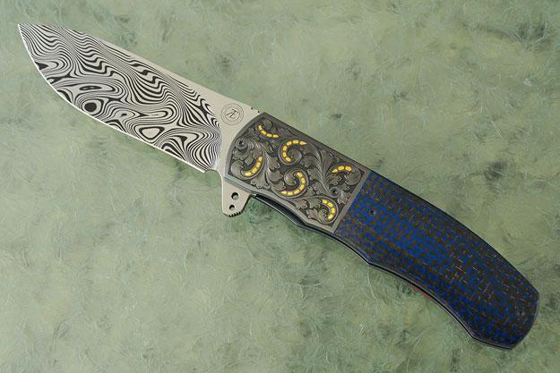 L46 Flipper with Damascus, Engraved Zirconium, and Blue Lightning Strike Carbon Fiber (Ceramic IKBS)