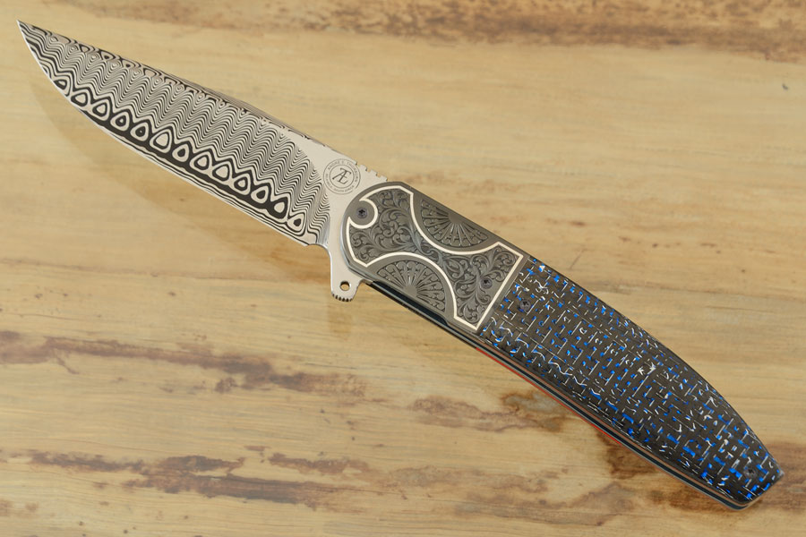 L28M Flipper with Damasteel, Blue/Silver Carbon Fiber, and Engraved Zirconium with Silver Inlay (Ceramic IKBS)