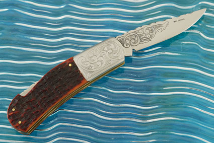 Engraved Jigged Bone Backlock Folder