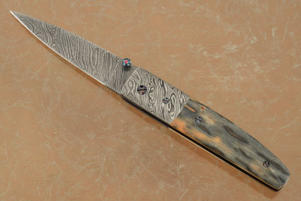 Model 4 Damascus Folder with Mammoth Ivory