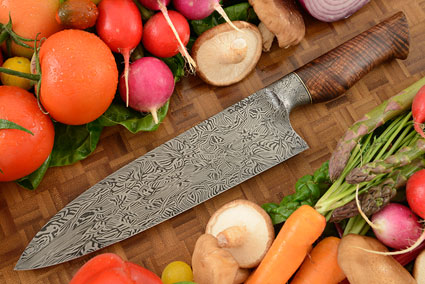 Chef's Knife (9 in.) with Curly Koa and Integral Mosaic Damascus