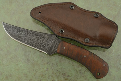 Belt Knife with Maple and Damascus