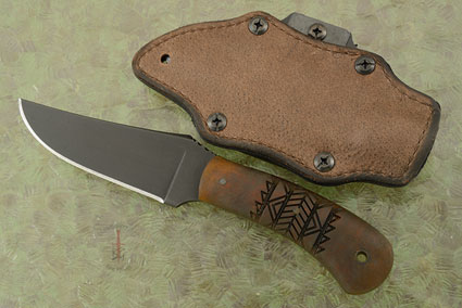 Blue Ridge Hunter (Gen 2) with Maple, Tribal Markings and Caswell Finish - Leather Wrapped Sheath