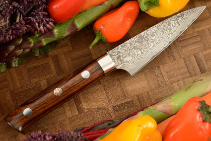 Damascus Paring Knife (Petty) - 85mm (3-1/3in) - with Ironwood