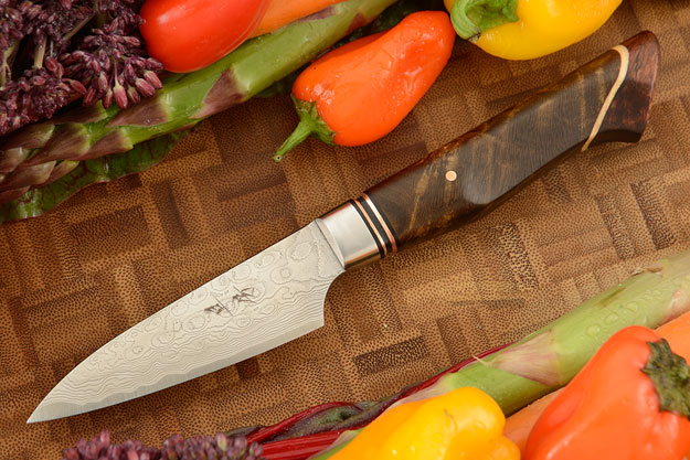 Paring Knife (3-1/3 in.) with Stainless Damascus and Maple Burl