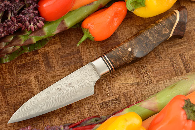 Paring Knife (3-1/2 in.) with Stainless Damascus and Maple Burl