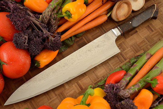 Chef's Knife - Gyuto - (10.4 in) with Stainless Damascus and Maple Burl