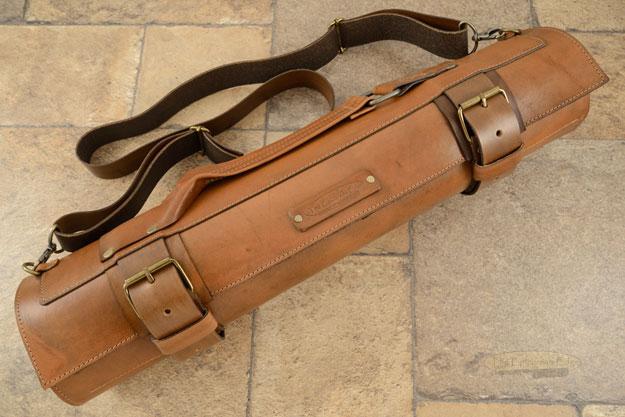 14 Slot Leather Roll Knife Bag - Brown