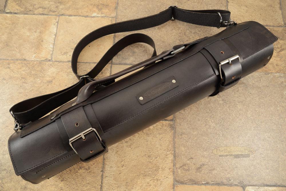 14 Slot Leather Roll Knife Bag - Black