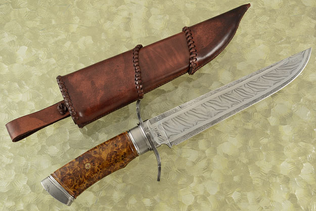 Multibar Damascus Bowie with Redwood Burl