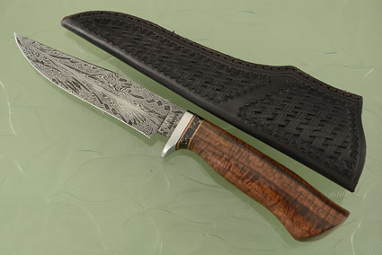 Feather Pattern Damascus Fighter with Ringed Gidgee