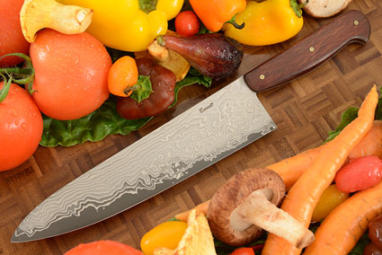 Chef's Knife (7-1/2 in.) with Stainless Damascus San Mai and Sheoak