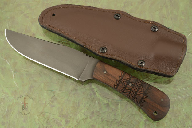 Field Knife with Walnut, Tribal Markings, and Caswell Finish