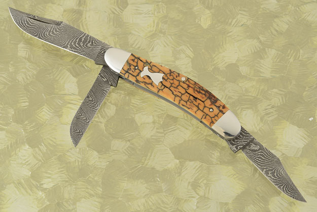 Three Blade Sowbelly Trapper with Stainless Damascus and Mammoth Ivory