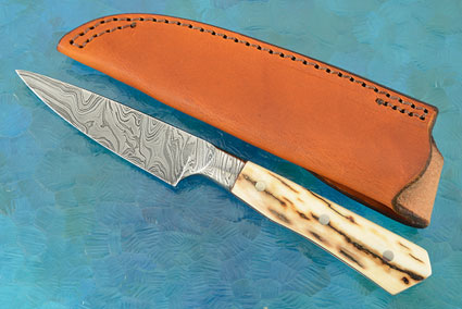 Damascus Integral Utility with Mammoth Ivory (4