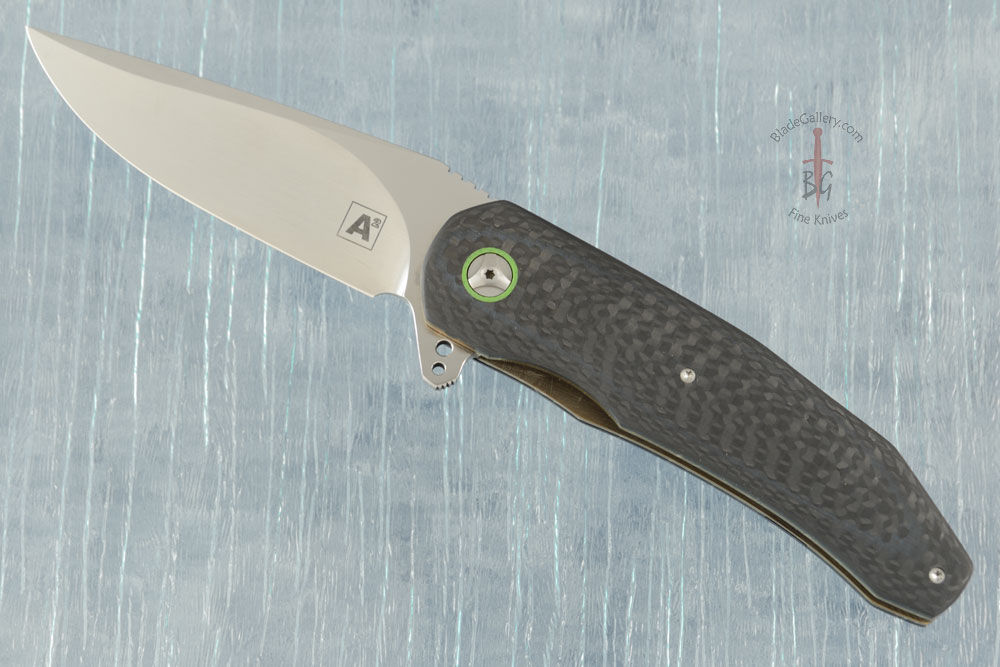 A5 Flipper with Carbon Fiber and Neon Green G10 (IKBS)