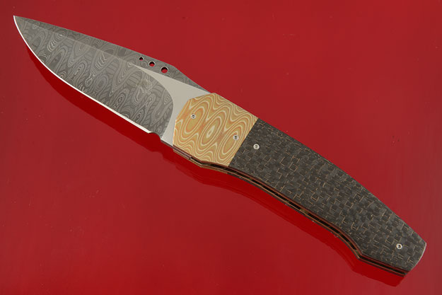 Damascus Grizzly Tactical Front Flipper with Lightning Strike Carbon Fiber, Mokume and MoonGlow II (IKBS)