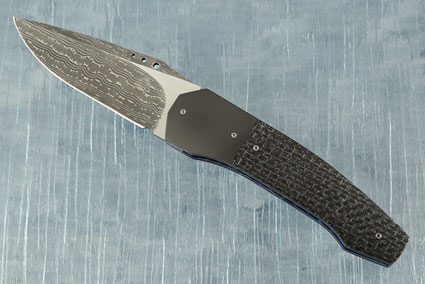 Damascus Grizzly Tactical Front Flipper with Silver Strike Carbon Fiber, Zirconium and MoonGlow II (IKBS)