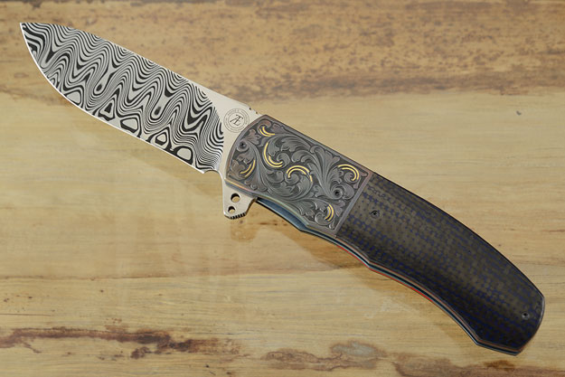 L46 Flipper with Damascus, Blue Carbon Fiber and Zirconium - Engraved with Gold Inlay (Ceramic IKBS)