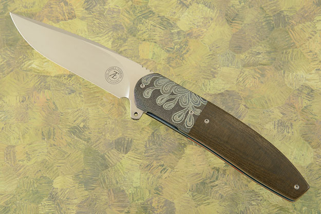 L28L Flipper with Olive Green Linen Micarta and Zirconium (IKBS)