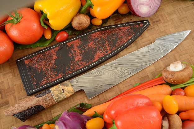 Damascus Chef's Knife (10-1/4 in.) with Redwood and Buckeye Burl